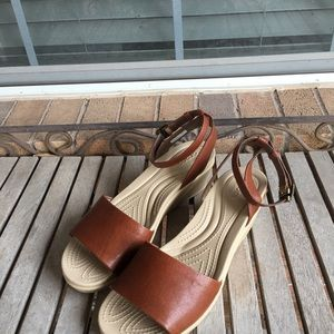 50f057bebe81 CROCS Shoes - Crocs Leigh-Ann Ankle Strap Leather Wedge Sandal